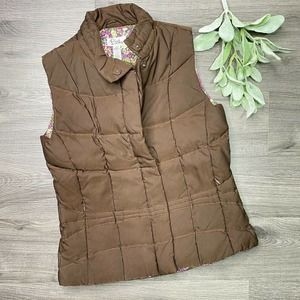 Lilly Pulitzer XS Quilted Brown Down filled Vest